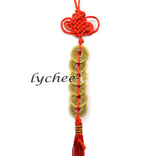 6 Coins Chinese Knot Tassel Hanger Feng Shui Wealth Key Ring Keychain Car Decor