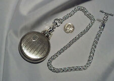 "NEW HAND-MADE SILVER PLATED POCKET WATCH CHAIN:18"" VEST WHEAT LINK"
