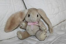 "6"" Small Light Brown BUNNY RABBIT Jointed PLUSH w/ Pink Bow, Long Ears"