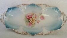 ANTIQUE R S PRUSSIA GERMANY OVAL CELERY TRAY HIDDEN IMAGES MORNING GLORY ROSES