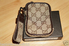 100% Authentic Gucci Italy Original GG Canvas Cigarette/Camera Pouch with Strap