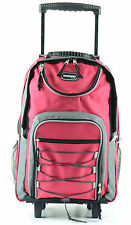 """RED 20"""" Large Rolling Backpack Wheeled School Bookbag FREE SHIPPING"""