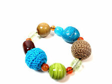 CHUNKY COLORFUL MULTI BEAD BRACELET UNIQUE COLORFUL NEW (ST74)