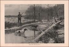 MAN HUNTING IN WINTER, SETTER & POINTER DOGS by A S DAGGY, ANTIQUE PRINT 1895