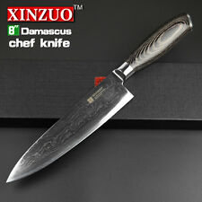 8 inches chef knife 73 layers Japanese Damascus steel kitchen chef Sharp Wood Ha