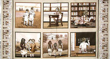 Sepia School Children Classroom Fabric Elizabeths Studio Growing Up Cotton PANEL