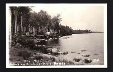 Ely Minnesota MN 1949 RPPC Tents on Birch Tree Point, Lakeside Camping