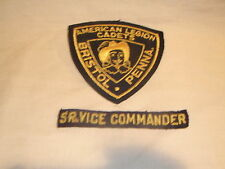 American Legion Cadets Sr. Vice Commander Patches and Pin, Bristol Pennsylvania