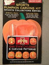 HALLOWEEN PUMPKIN CARVING KIT IOWA STATE CYCLONES SPORTS STENCILS CARVING TOOLS