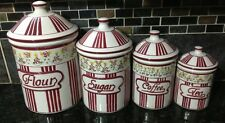 Kitchen Cannister Set Ceramic 4 Pc Flour Sugar Coffee Tea Red Stripes Flowers