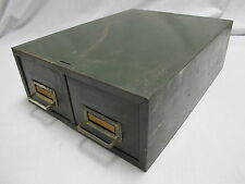 VINTAGE INDUSTRIAL GREEN METAL 2 DRAWER FILE Cabinet Mid Century Modern Retro