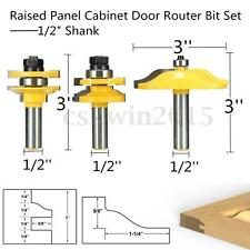 "3 Bit Raised Panel Cabinet Door Router Bit Set - 1/2"" Shank w/ Case Spanner Shim"
