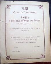 1928 DIPLOMA DI MEDAGLIA PER TEMA SU MOSTRA PITTORI DELL''800 E '900 A CARIGNANO
