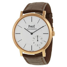 Piaget Altiplano Automatic Silver Dial Brown Leather Mens Watch G0A35131