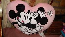Disney Mickey Mouse & Minnie Mouse Pink Large Heart Shaped Pillow Kisses RARE