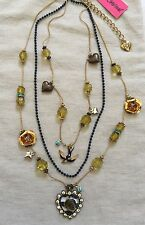 BETSEY Johnson VINTAGE In The Navy Lucite Striped Rose Heart Sparrow Necklace