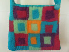 NEW Rising Tide Hand Made in Nepal 100% Sheep Wool Rainbow Felted Purse Bag Tote