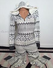Victoria's Secret Fireside Hooded Onesie White Gray Fairisle Long Jane Pajama XS