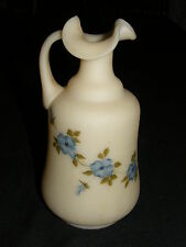 FENTON PITCHER RUFFLE HANDPAINTED BETH WILCOX CUSTARD BLUE FLOWER APPLIED HANDLE