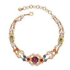 Collier Doré Ras du Cou Art Deco Multicolore Perle Deux Rang Rouge Vintage XXF1
