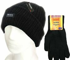 Ladies  Black Thermal Thinsulate Winter Hat and 'Handy' Thermal Gloves Set