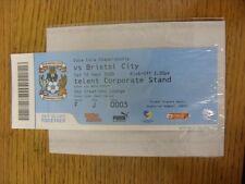 12/09/2009 BIGLIETTO: COVENTRY CITY V Bristol City (creazioni Sky Lounge, piegato).