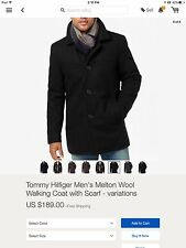 Tommy Hilfiger Mens Melton Wool walking coat with scarf