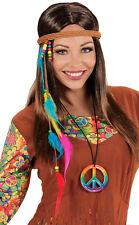 Hippie Haarband mit Perlen und Federn NEU - Zubehör Accessoire Karneval Fasching