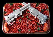 RED ROSES BELT BUCKLE FLOWERS GUNS REVOLVERS BELTS & BUCKLES BOUCLE DE CEINTURE