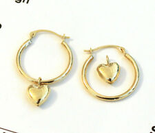 14k Yellow Gold Hoop Earrings with Heart Charm