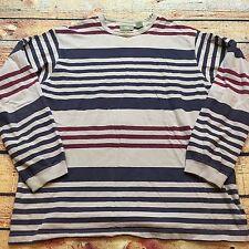 90s VTG GRUNGE Wide Striped SKATE Surf L COLORBLOCK Blue Red Brown Beige T Shirt