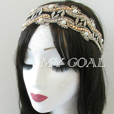 Retro Lace Headband Great Gatsby Vintage Deco Flapper 1920s Pearl Hair Band Chic