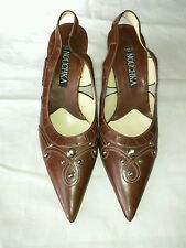 Nouchka brown leather slingback, size 34.5, US size 4.5