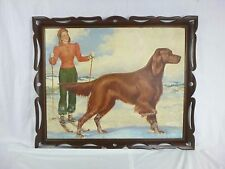 Vtg 50s Original Painting Arnold Armitage Skier Irish Setter Pin Up Girl Artist