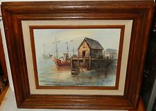 A.SIMPSON FISHING BOATS HARBOR SCENE ORIGINAL OIL ON CANVAS SEASCAPE PAINTING