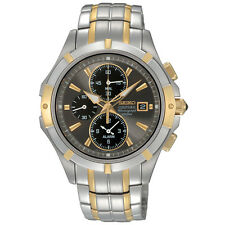 SEIKO COUTURA CHRONOGRAPH ALARM DATE TWO-TONE ST.STEEL MEN'S WATCH SNAE56 NEW