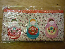 RUSSIAN DOLL MATRYOSHKA APPLIQUE PENCIL CASE MAKEUP BAG BRUSH CASE BNIB