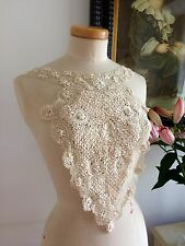 VINTAGE 1900s SILK MALTESE BOBBIN LACE HAND MADE JABOT PANEL EXQUISITE HEIRLOOM