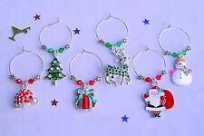 Set 12 Deluxe Enamel & Swarovski Elements Crystal Christmas Wine Glass Charms.