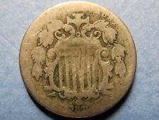 "1870 Vintage SHIELD TYPE ""5"" NO RAYS NICKEL, SCARCE CIVIL WAR ERA MINTAGE COIN"