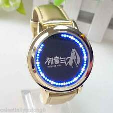Anime Hatsune Miku Vocaloid Cosplay Touch LED Leather Bracelet Watch Wristwatch