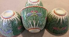 Chinese Export Famille Verte Porcelain Cabbage Leaf/Butterflies 4 Tea Cups