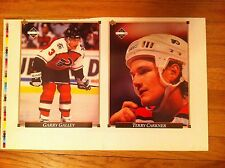1992 Upper Deck uncut Card sheet Philadelphia Flyers GARRY GALLEY Terry Carkner