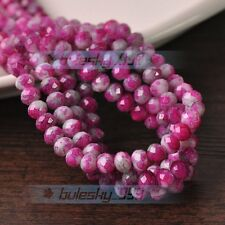 NEW 100pcs 6mm Rondelle Faceted Charms Glass Loose Spacer Beads Rose Red