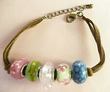 ACCESSORIZE BRACELET_VERY LARGE BEAUTIFULLY DETAILED GLASS BEADS_SILVER DETAILS