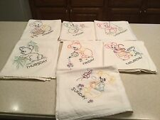 Vintage Days Of The Week  Embroidered Tea Kitchen Towels Koala Bears Complete