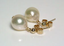 8mm AA+ pale gold baroque Japanese Akoya saltwater pearl & 9 carat gold earrings