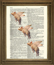 PIGS MIGHT FLY Vintage Dictionary Flying Pink Pig Animal Art Print Antique Paper