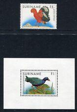 SURINAM 1986 Vögel Birds Uccelli Oiseaux Freimarken 1165 + Block 43 ** MNH