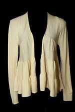Elie Tahari Cream Ivory Open Front Waterfall Soft Marino Wool Cardigan Sweater